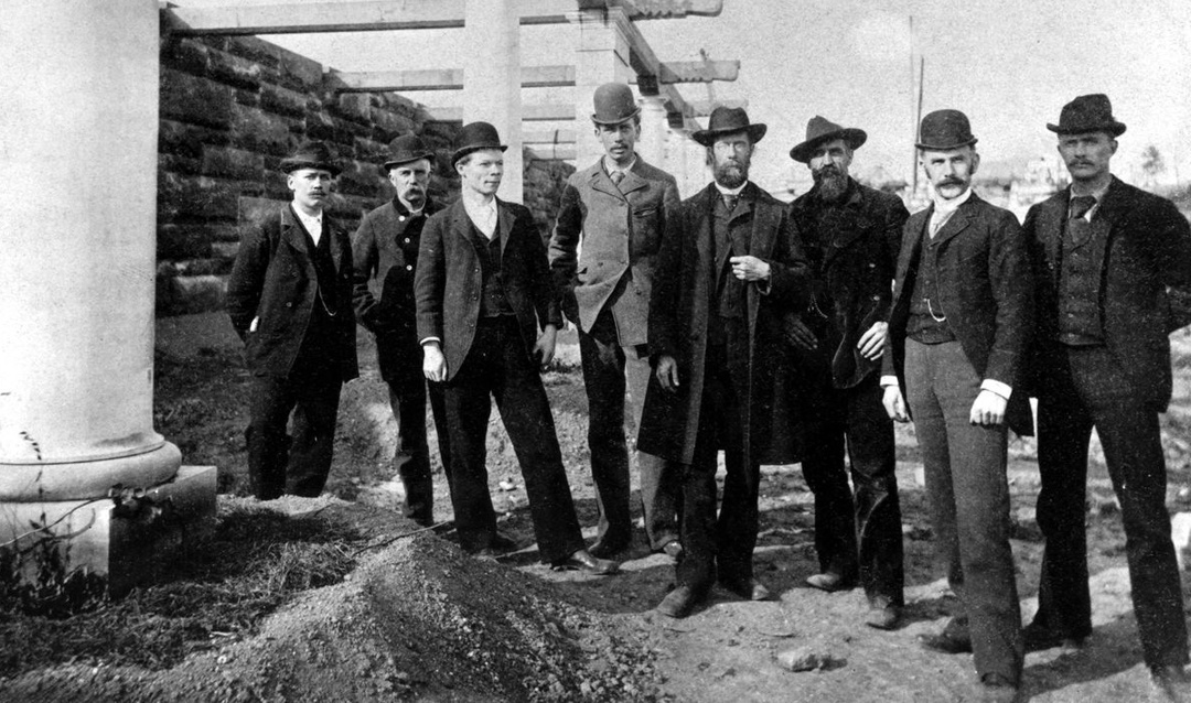 Biltmore House contractors, including Richard Sharp Smith (second from right), circa 1892