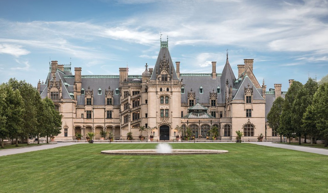 View of front façade of Biltmore House