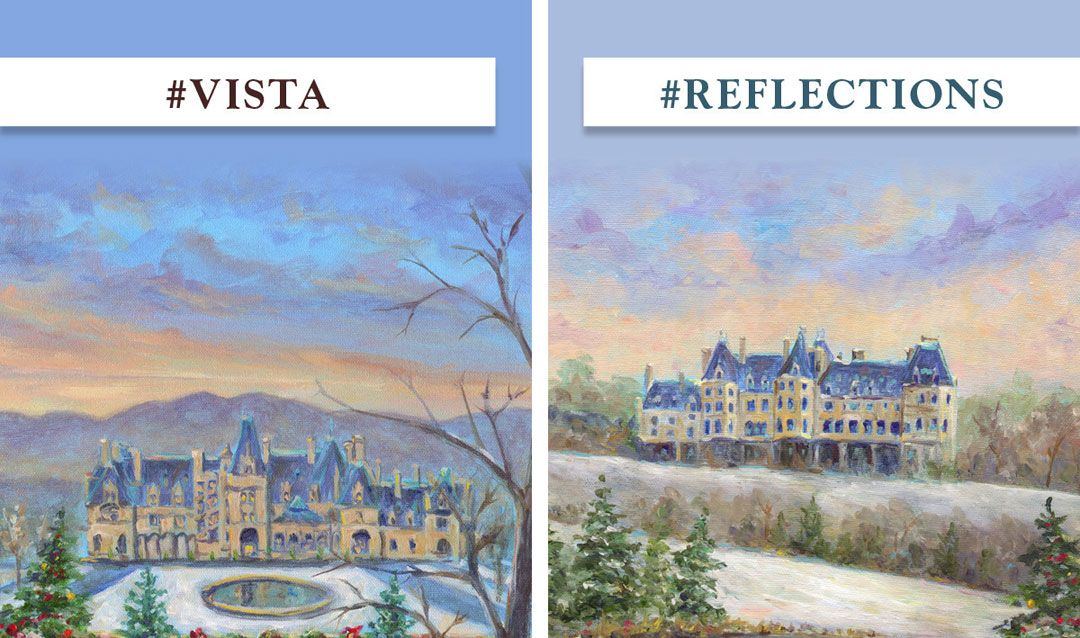Paintings showing different views of Biltmore House
