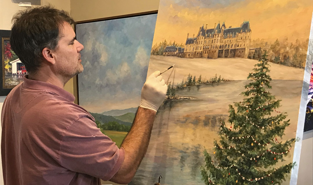 Asheville artist Jeff Pitman painting the 2019 Biltmore Christmas Wine label