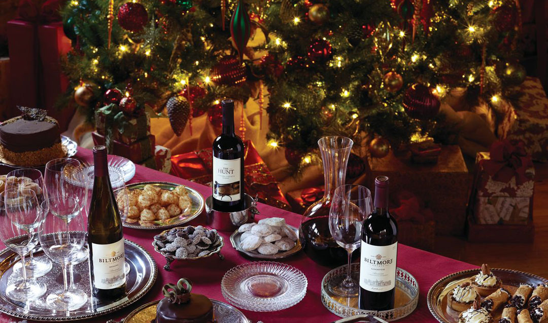 Christmas tree with Biltmore wines and desserts