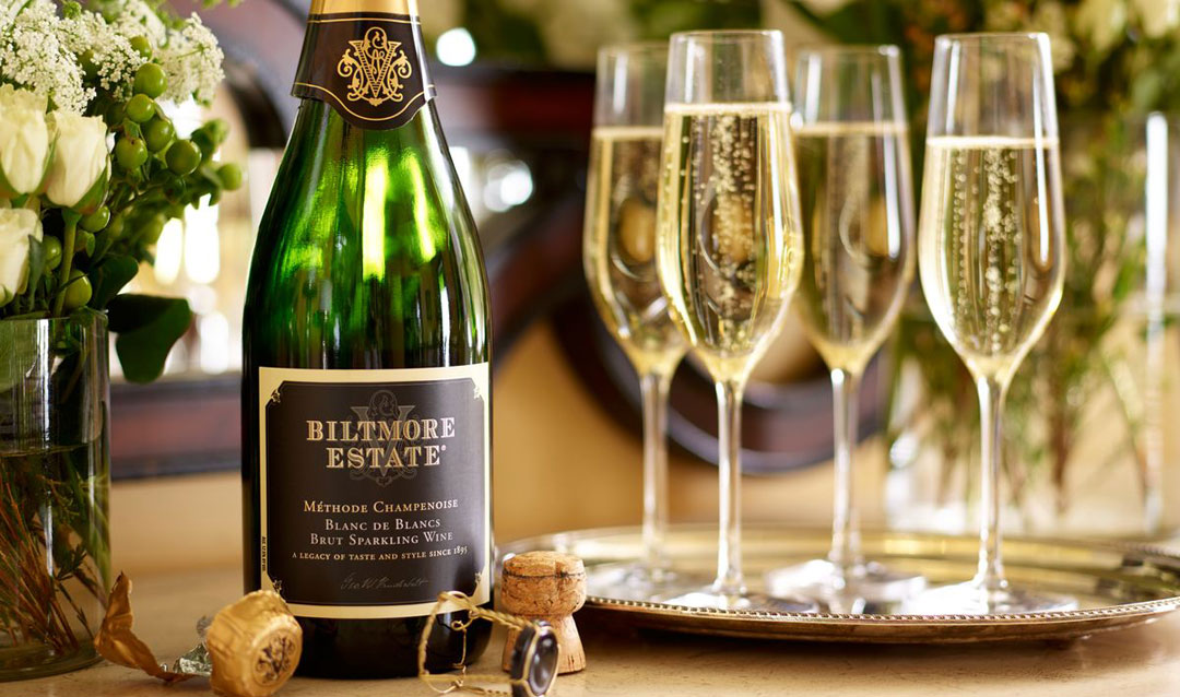 Biltmore Estate Blanc de Blancs and glasses