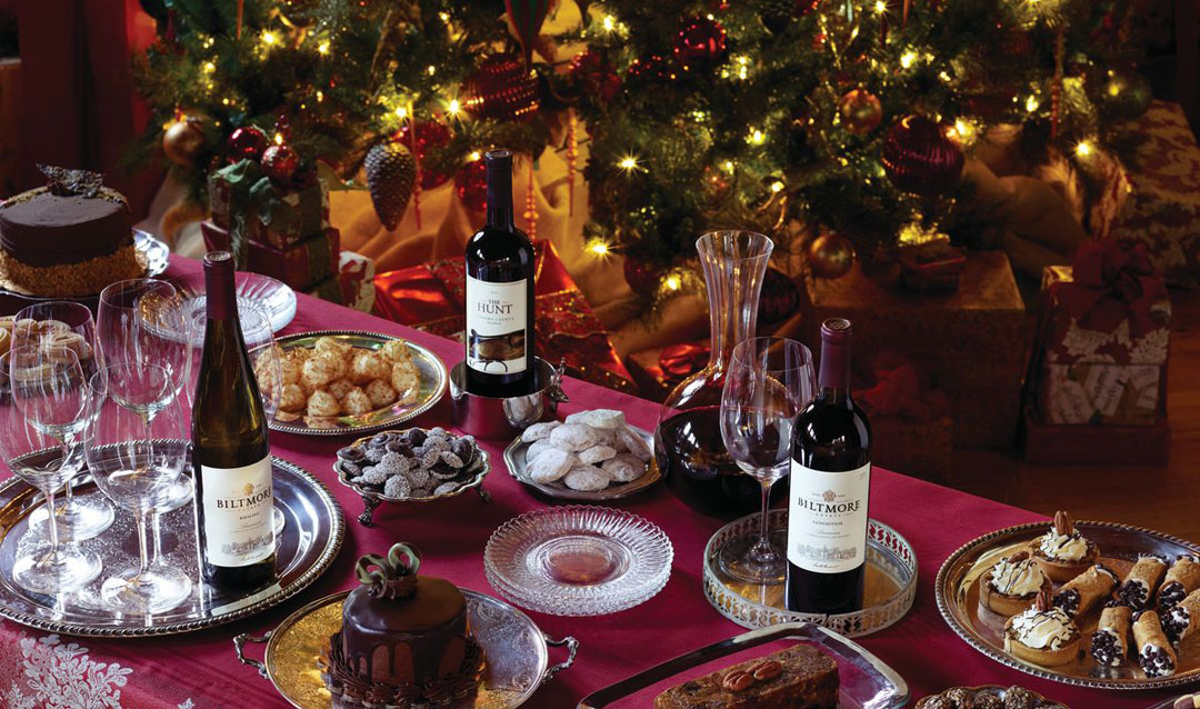 Biltmore wines with Christmas tree and desserts