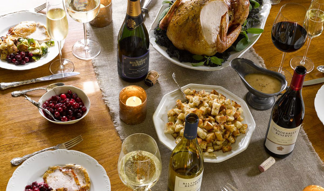 Thanksgiving table with Biltmore wines