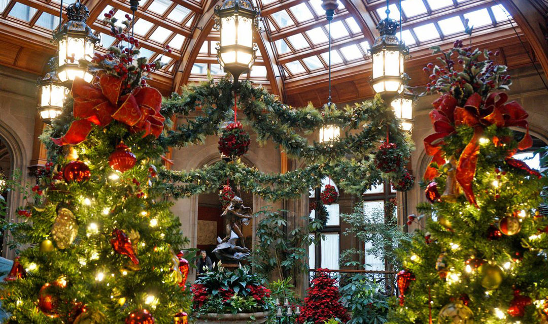 Winter Garden decorated for Christmas at Biltmore
