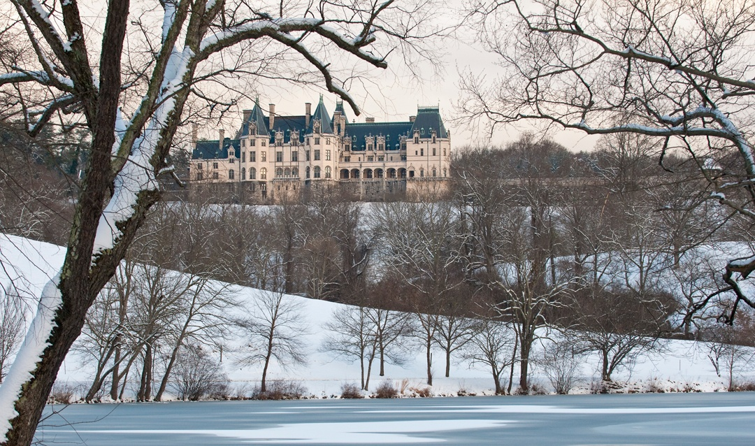 West facade of Biltmore House in snow