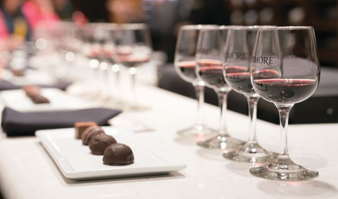 Red Wine & Chocolate tasting setup
